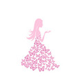 beautiful summer woman with butterfly dress vector image vector image