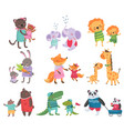 cartoon set of cute animal family portraits cats vector image vector image