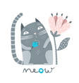 cat with flower meow sign vector image