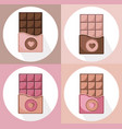 chocolate bar set icon template vector image vector image