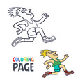 coloring page with running man cartoon vector image vector image