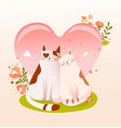 cute valentines day cats couple sitting together vector image