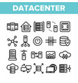 data center technology linear icons set vector image