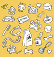 dog stuff icons set vector image vector image