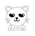 dotted shape enamored cat adorable feline animal vector image vector image