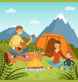 family camping in wood near big mountains vector image