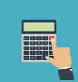 finger hand presses calculators button vector image