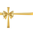 gold gift bow ribbon golden bow tie isolated on vector image