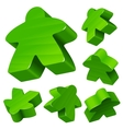 Green wooden Meeple set vector image vector image