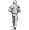 hand drawing walking man in a hood vector image vector image