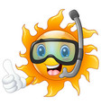 happy cartoon sun character in diving mask giving vector image vector image