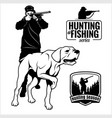 hunter with dog aiming with his rifle outdoor vector image