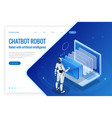 isometric robots man with artificial intelligence vector image vector image