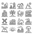 landscape set hill field and trees icons vector image