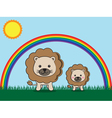 lion and kid vector image vector image