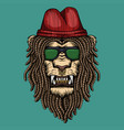 lion dreadlocks head vector image vector image