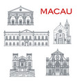 macau churches and theatre asian travel landmarks vector image vector image