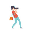 male professional photographer taking photo with vector image vector image