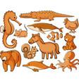 many animals in orange color vector image vector image