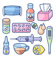 medicines and medical objects set treatment of vector image vector image