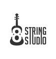modern guitar logo with number 8 vector image vector image