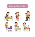Mother cares for child characters set vector image