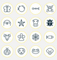 nature icons set collection of spider puppy vector image vector image