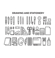 Office stationery and drawing tools line icons vector image vector image