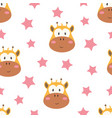 pattern with heads giraffe on white background vector image vector image