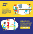 pediatrician health care landing flat characters vector image