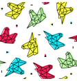 polygonal origami neon unicorn head seamless vector image