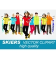 portrait of group of skiers vector image vector image
