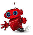 Red robot speed in a bend vector image vector image