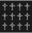 set christian crosses metal silver images vector image