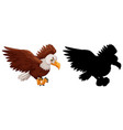 set eagle characters and its silhouette on vector image vector image
