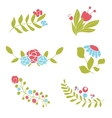 Set of cute abstract floral bouquets and wreaths vector image