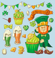set of leprechaun characters poses eps10 vector image vector image