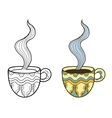Set of two doodle coffee cups outline and coloful vector image
