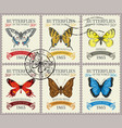set retro postage stamps with butterflies vector image