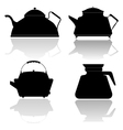 silhouettes of teapots vector image vector image