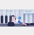 sports man doing push-up exercise on tires vector image vector image