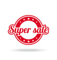 super sale label red color isolated on white vector image vector image