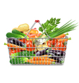 Supermarket Basket with Vegetables vector image vector image