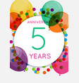 template 5 years anniversary congratulations vector image vector image