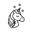 unicorn icon isolated on white background vector image vector image