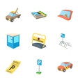Valet parking icons set cartoon style vector image vector image