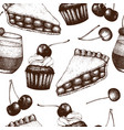 vintage background with traditional cherry cakes vector image vector image