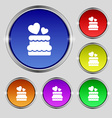 wedding cake icon sign Round symbol on bright vector image