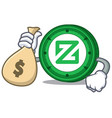 with money bag zcoin character cartoon style vector image vector image