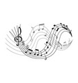 with waves music notes vector image